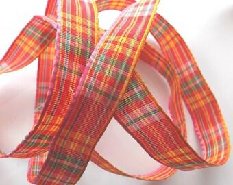 x 6 m - Scottish art yellow red pink color satin ribbon 1455