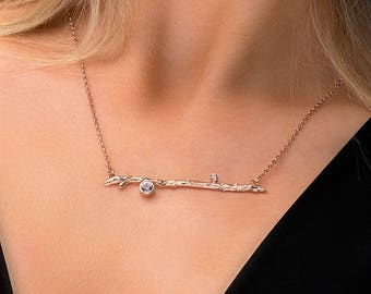 Silver Topaz Twig Necklace, Rose Gold Branch Necklace, White Topaz twig necklace, white Topaz Branch necklace, handmade Twig Jewellery, UK