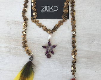 Luxury chain necklace with star & feather