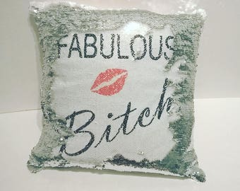 Silver and White Sequin Reveal Magic Mermaid Cushion - Personalised with your text, personalized, novelty cushion, magic reveal cushion