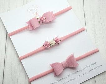 Pink Baby Headband Set - Baby Headbands and Bows - Baby Headbands - Hair Bow Set  - Baby Bows -Newborn Headband  - Girls Hair Accessories