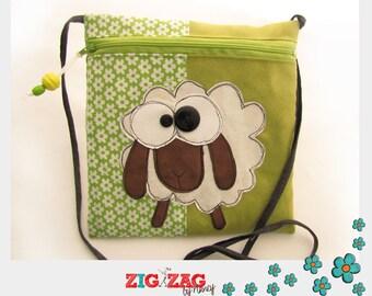 "Shoulder bag zippered ""Gaston the sheep"" anis20 x 20 cm"