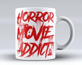 Horror Coffee - Horror Movie Addict | Halloween Mug | Horror Mugs | Funny Coffee Mug | Horror Mug | Horror Gifts For Him | Horror Movie Gift