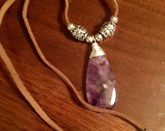 Amethyst wire wrapped pendant on suede cord