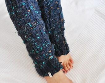 Leg Warmers // Yoga Leg Warmers // Leg Warmers Knitting / Mixed Blue