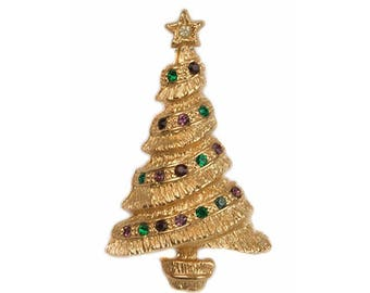 1960s Textured Gold Tone with Multicolored Rhinestones Christmas Tree Mid Century Vintage Xmas Holiday Pin Brooch