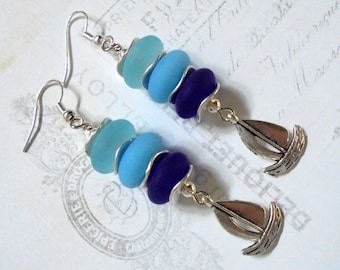 Blue and Silver Sea Glass Sailboat Earrings (2741)