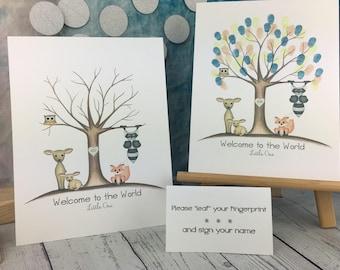 INSTANT DOWNLOAD | gender neutral baby shower | woodland animal fingerprint tree | woodland baby shower | gender neutral | woodland nursery