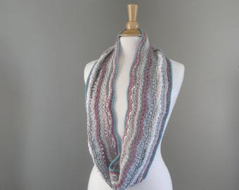 Knit Infinity Scarf, Multicolor Stripes, Loop Cowl Scarf, Long Wrap Scarf, Elegant Pastel Colors, Designer Art Scarf