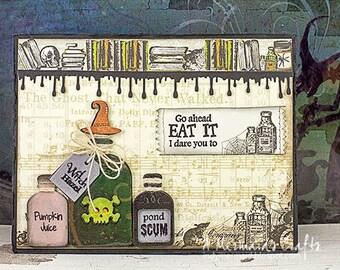 Witch Hazel Bottles Halloween Greeting Card