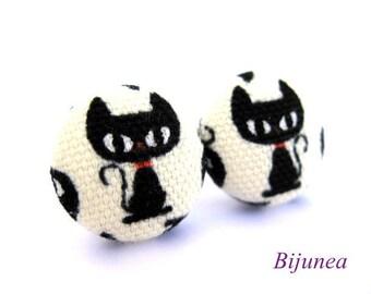 Cat earrings - Black cat earrings - Cat studs - Black cat stud earrings - Cat posts - Black cat post earrings sf750