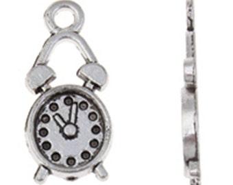 12pc 19x8mm antique silver finish metal clock pendants-7682o