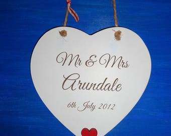 Personalised Mr & Mrs Printed Wooden Shabby Chic Hanging Heart - wedding gift