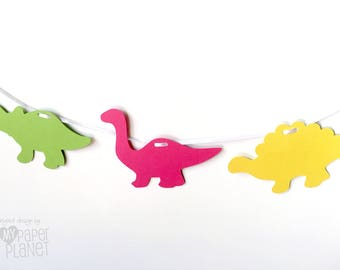 Dinosaur Garland. Birthday party banner.  Green, Yellow and Bright Pink dinosaurs. Dino party, baby shower, party decorations.