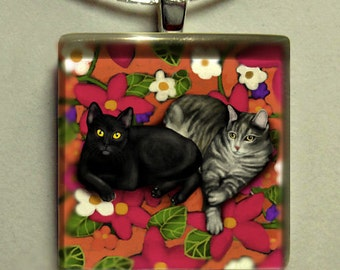 BLACK and GREY TABBY cats 1 inch glass tile pendant with chain