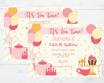 7 year old invite etsy little girl tea party princess birthday 7 year old pink and gold dress up printable invitation digital download invite stopboris Gallery