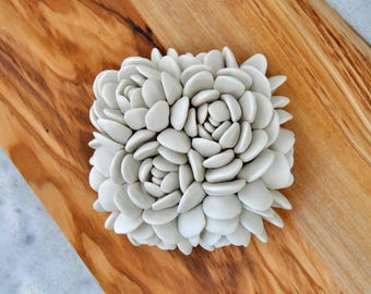 Mini Escheveria Wall Tile - Ceramic Wall Sculpture - Ceramic Wall Art - Porcelain Wall Tile - Ceramic Wall Flower
