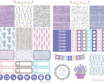 Lavender Weekly Planner Sticker Kit for use with ERIN CONDREN LIFEPLANNER™, Happy Planner, Travelers Notebook etc