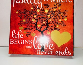 Family is where Life Begins and Love Never ends. sign