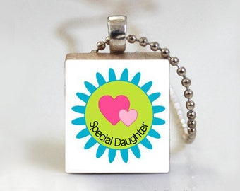 Scrabble Tile Pendant - Free Ball Chain Necklace or Key Ring