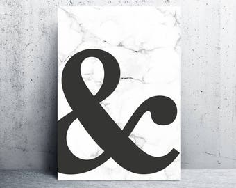 Ampersand art print, monogram, grey home, printable art, printable, art print, printable wall art, marble print, prints, & poster, gray