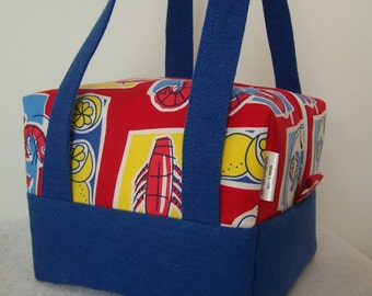 I love Shrimp Lunch Box, BPA free, food safe lunch bag, Red and Blue Executive Insulated Lunch Carrier, Cosmetic Case