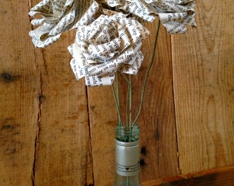 Individual Paper Book Roses with Stem's