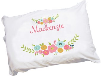 Personalized Spring Floral Pillowcase For Toddlers