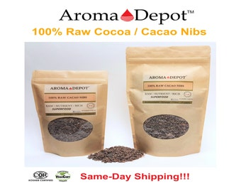 Raw Cacao / Cocoa Nibs 100% Pure Natural Kosher Raw Chocolate Arriba Nacional Bean from 8 oz & 1 Lb cut sifted bulk herb Fair Trade