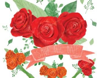 Red rose Clipart,Vintage rose Cliaprt,Flower Cliaprt_Rose bouquet Clipart,Floral Clipart FW6