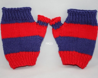 Navy/red striped fingerless mitts; navyred fingerless mitts; fingerless mitts; red/navy striped fingerless mitts; team colors;