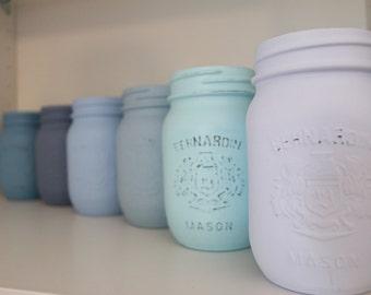 Painted Mason Jar. Distressed Mason Jar. Set of Six Blue Mason Jars. Baby Shower Décor Wedding Décor. Wedding Centerpiece.  House Warming.