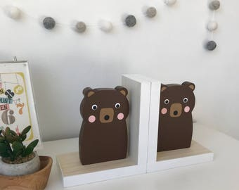 Brown Bear Bookends, Neutral Nursery, Baby Woodland, Woodland Decor, Forest Themed, Kids Bookends, Baby Bear, modern bear woodland nursery