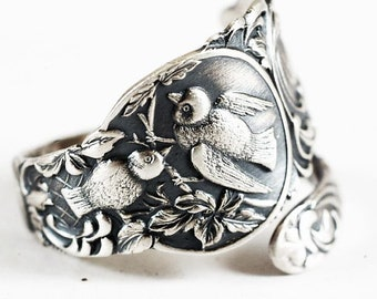 Adorable Birds in Nest Ring, Sterling Silver Spoon Ring, Bird Ring, Bird Lover Gift, Cute Animal, Handmade Gift, Adjustable Ring Size (5862)