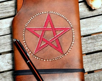 A5 Leather Journal /Spell Book/Book of Shadows/ Made in Australia.