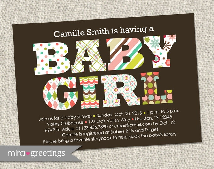 Baby Girl Baby Shower Invitation - Printable Digital File