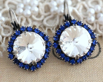 Sapphire Blue and white Crystal earrings, Crystal Drop earrings, Swarovski Crystal drop earrings, Silver Crystal earrings, Something Blue