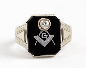 Sale - Vintage Mason Ring - 14k White Gold Art Deco Black Onyx & Diamond OB Ostby Barton - Men's 1920s Size 9 1/4 Freemason Fine Jewelry