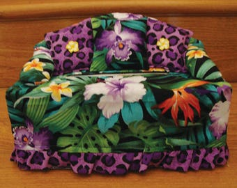 Tropical Hawaiian Fabric Tissue Cover, Aloha Made in Hawaii, Bird of Paradise, Hibiscus, Orchid, Leopard Print, Kleenex Box Cover
