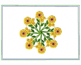 Circle of Flower Small Money Purse 04 - In The Hoop Machine Embroidery Design
