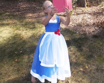Peasant Belle Costume: Belle Tutu Dress, Princess Party, Costume, Princess Dinner, adjustable, beauty & the beast, blue and white, red rose