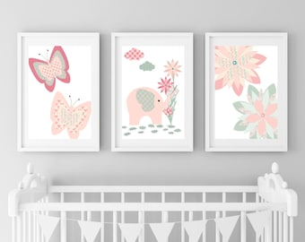 Pink Elephant Nursery Art, Elephant Nursery Print, Baby Animal Prints, Butterfly Print, Floral Nursery Art, Floral Nursery Prints, Pink Mint