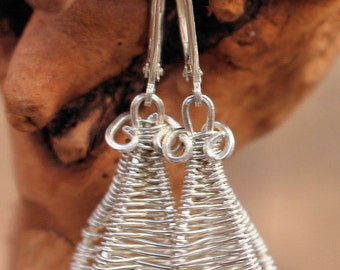 Sterling silver wire woven earrings.