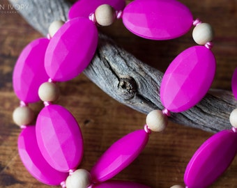 Chompy Flat Ovals Silicone & Wood Teething Necklace