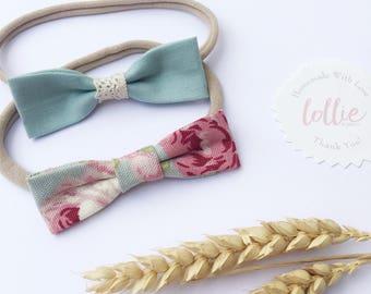 Baby Set | Set of Bows | Headband Set | Baby Headbands | Nylon Headbands | Autumn Headband | Blue Headbands | Vintage Baby