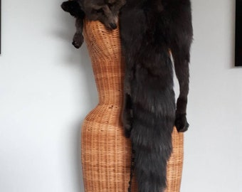 Grey Fox Fur, Full Stole With Face, Legs &Tail. Long Scarf Soft and Fluffy. Gorgeous Vintage 30s 40s Accessory. Taxidermy Charcoal Slate