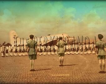 Colourised photo, vintage photograph, military memorabilia, armed forces, photographic print