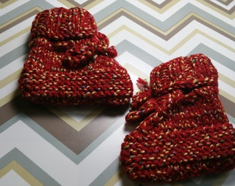 Harvest Hand Knit Baby Booties / Ready To Ship / Size 0-6 Month