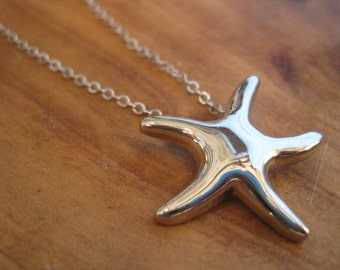 Silver Starfish Necklace - Plain Silver Starfish Necklace