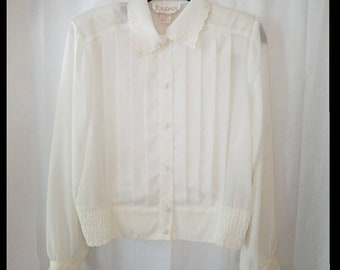 Vintage 1980s Ivory Blouse Womens Size 6 Embroidered Floral Collar Pleated